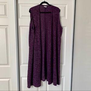 Lularoe purple knitted vest duster size XL